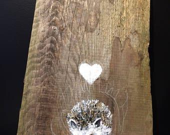 Hedgehog painting on wood