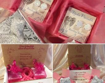 Best Friend Earrings Sterling Silver BFF Heart & Opal Studs FREE U.S. Shipping FOUR Pairs of Earrings! Opal Best Friends Forever Jewelry Set