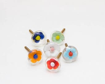 Set of 6 Glass Summer Trifle Flower Knobs