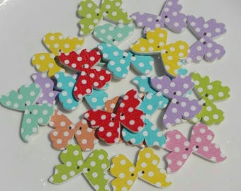 10 Wooden buttons shaped Butterfly in mixed colors Polka Dot 28x21mm