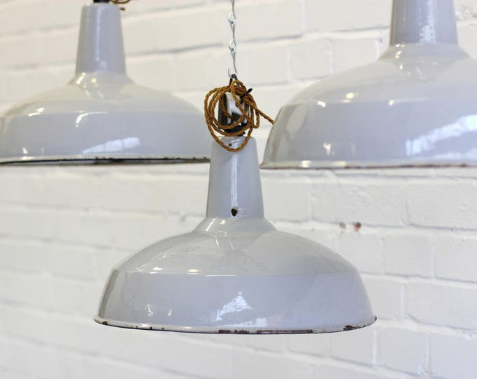 Grey Enamel Industrial Pendant Lights Circa 1930s