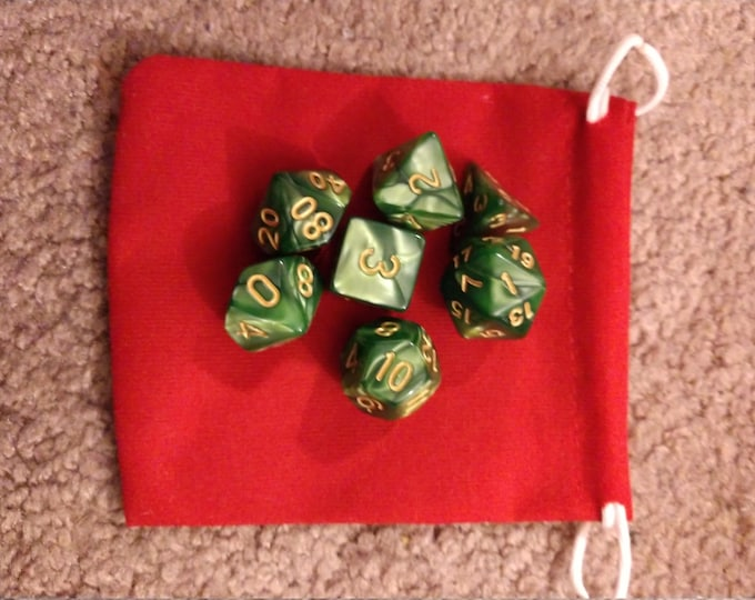 Rainforest - 7 Die Polyhedral Set with Pouch
