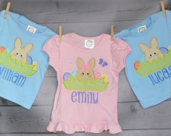 Personalized Easter Bunny with Eggs in Grass Applique Shirt or Onesie Girl or Boy
