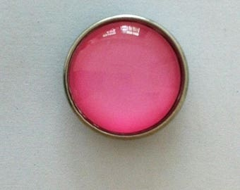 Snap glass button pink pale 18mm