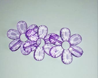 Large 1 X Pearl translucent purple flower 33mm