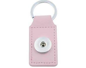 Keychain rectangle pink faux leather snap button