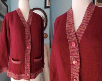 Vintage 1970's cardigan sweater merlot wool knit spaced trim