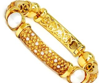 Valente Mabe Pearl Bracelet with Citrine's & Diamond's 18K Gold 8.00ctw