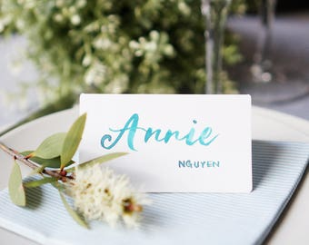 Hand made place card. Name tag for events. Calligraphy. Wedding decor. Table decor. Hand lettering