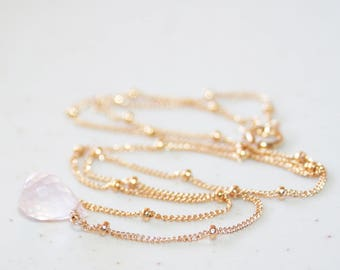 Dainty Rose Quartz Minimalist Choker Necklace, 14K Gold Filled, Satellite Chain, Small Pink Gemstone Necklace, Delicate and Feminine Jewelry