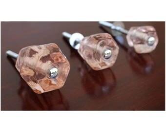 """1.25"""" PINK Glass Cabinet Knobs Pulls Vintage Dresser Drawer Hardware 10 pcs"""