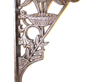 Floral and Leaf Cast Iron Shelf Bracket in Rust Painted Finish - The Kings Bay