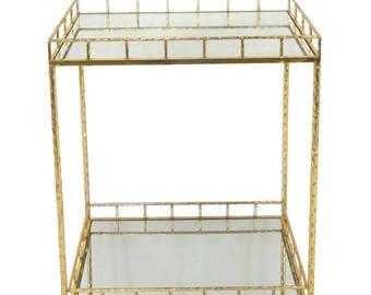 Gold Metal & Mirror Bar Cart Serving Tray Simple Elegant Server