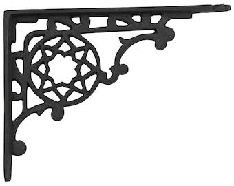 """Victorian Cast Iron Shelf Bracket antique vintage REPRODUCTION black paint 9"""""""