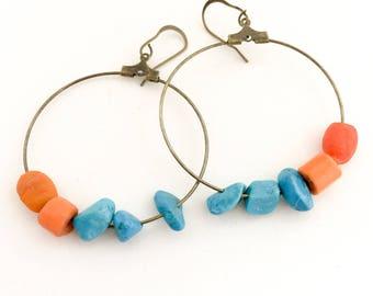 Bead Earrings, Hoop Earrings, Orange & Turquoise Earrings.