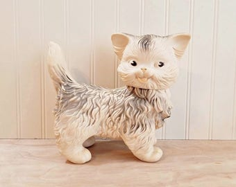 Vintage Rubber Squeaky Cat Edward Mobley Arrow Rubber 1960 Rubber Cat Mid Century Cat Plastic Cat Nursery Decor Toy Cat