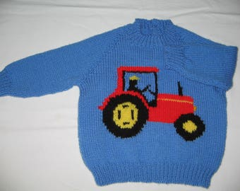 """Hand Knitted Tractor Jumper  Chest 23""""/58cm"""