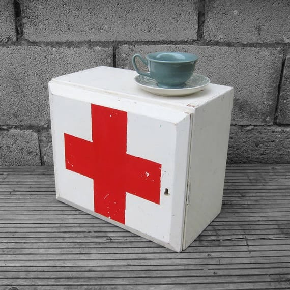 Vintage First Aid Box 1950s Wooden Painted White Red Military
