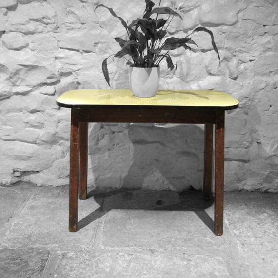 Yellow Formica Table Vintage Mid Century Kitsch 1960s