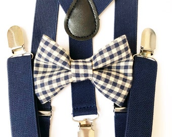 FREE DOMESTIC SHIPPING! Navy blue Suspenders + navy blue gingham bow tie baby kids boy boys teens adult formal holiday photos family picture