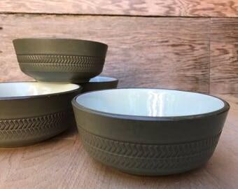 Denby Camelot Dessert Cereal Sauce Bowls - Dark Green Matte Glaze with Chevron Pattern