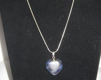 Vintage Silver Tone Stone Heart Necklace