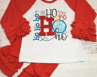 Christmas outfit for girls, Christmas outfit for baby girls, HO HO HO, Christmas Ornament , Christmas ruffle pant set, Lumberjack Truck
