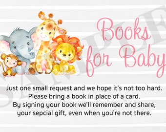 Safari Jungle Baby Shower Book Request Card - Instant Download