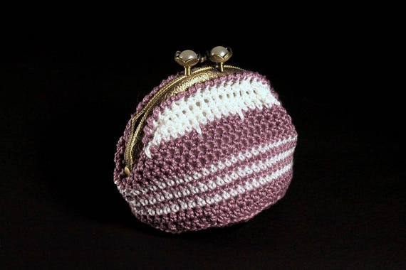 Crochet Coin Purse, Kiss Closure, Metal Goldtone Frame, Dark Lilac and White, Faux Pearl, Coin Pouch, Handmade