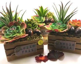 Choice small wood crate handmade faux succulent & acorn floral arrangement Autumn decor 'Hello Fall' with leaf charm