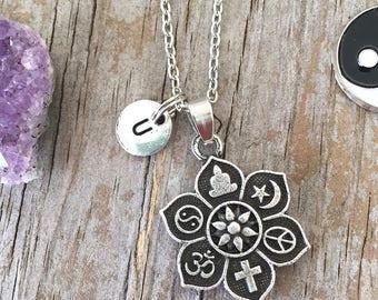 Coexist pendant etsy coexist necklace coexist pendant necklace initial necklace peace yin yang ohm aloadofball Images