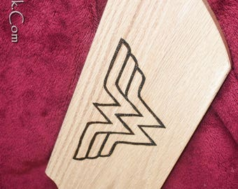 Heavy Oak Wonder Woman Paddle - Thick and Weighty - BDSM Spanking Paddle
