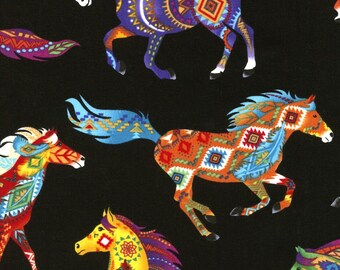 Southwest Navaho Design on Horses, Bright Colors, Black, Timeless Treasures (By 1/2 Yard)