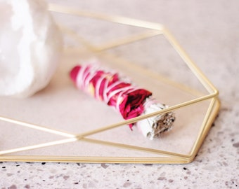 Rose + Sage Smudge Stick | Spiritual gift, energy clearing, moon rituals, sage, dried rose petals