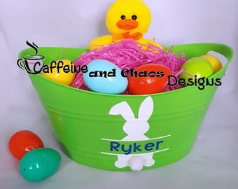 Personalized Easter Basket, Easter Oval Bucket, Personalized Kid's Easter Basket