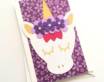 Unicorn greeting card, Floral Purple with gold. Birthday card, new baby girl card. Believe in unicorns. Happy birthday card. Flower unicorn.