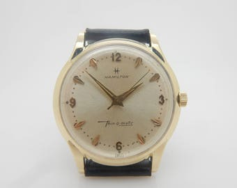 Mens Vintage HAMILTON Thin-o-matic 628 Solid 14K Yellow Gold Black Leather Strap 34mm Swiss Wrist Watch; sku # 3933