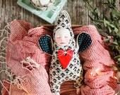 Ooak doll , monochrome nursery decor, minimal angel doll, keepsake angel figurine, knitted guardian angel, housewarming gift, gift for mom