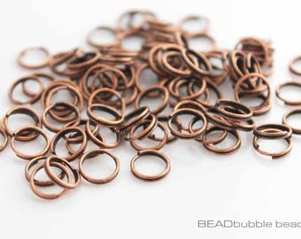 8mm Split Rings Copper Tone, Pack of 100 Findings for Jewellery Making (FIN177)