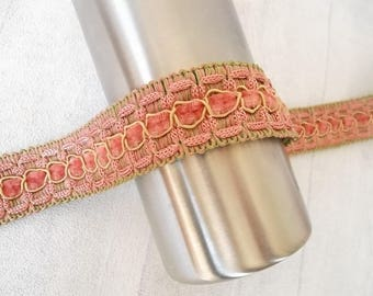 Ribbon, lace, 35 mm - dusty pink and green - meter - for furniture, decoration, etc.
