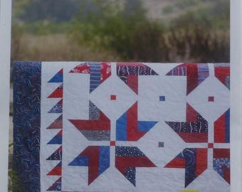 Anniversary Sale Pattern~Stars from Stripes~Quilt Pattern, Patriotic~ 2 and One Half Strips~ Cozy Quilt~Fast Shipping PT161