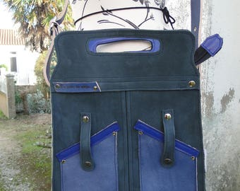"""Shoulder hand bag """"Paola"""" 100% leather and blue handmade"""