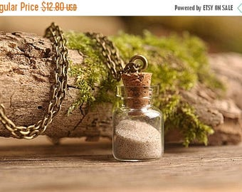 20% OFF Beach sand necklace, nature necklace, sea sand necklace, tiny necklace, sand pendant, antique brass necklace, glass necklace, wish p