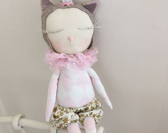Ready to ship circus cat doll in bloomers and a party hat cloth doll stuffed cat