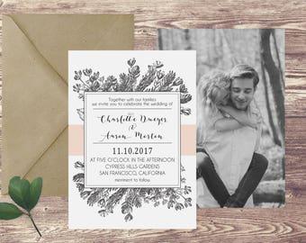 The San Francisco Wedding Invitation and RSVP Set, Floral Wedding Invitation, Wedding Invitation with Photograph, Spring Wedding Invitation