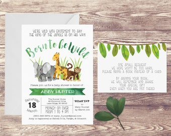 Baby Shower Invitation, Safari Baby Shower Invitation with  Book Instead of Card Insert, Invitation for Baby Shower,Baby Animal Baby Shower