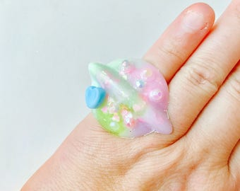Pastel Goth Milky Swirl Holographic Planet Resin Adjustable Ring