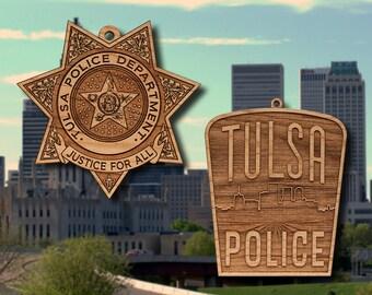 Wooden Tulsa PD Badge or Shoulder Patch Hanging Ornament