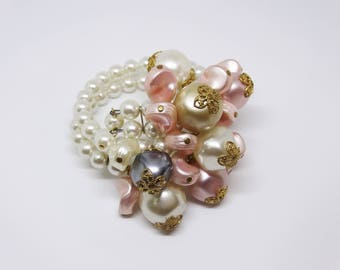 1960s Faux Pearl Pastel Bead Expansion Bracelet Pink White Beads