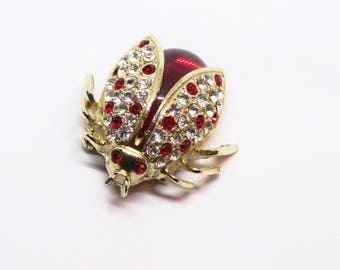 1960s Red Jelly Belly Lady Bug Rhinestone Figural Novelty Brooch